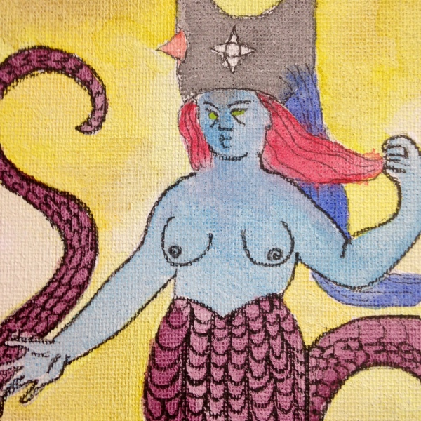 Close-Up 2 Sky Demon- Tribute to Henry Darger Jr. Linda Cleary 2014 Watercolor & Ink on Canvas