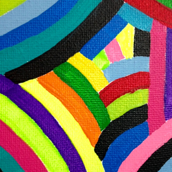 Close-Up 2 Laberinto del Arco Iris- Tribute to Marta Minujin Linda Cleary 2014 Acrylic on Canvas