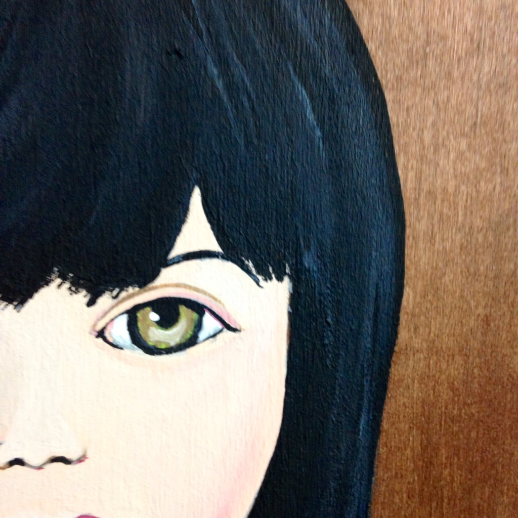 Close-Up 2 Self-Portrait- Tribute to Mark Ryden Linda Cleary 2014 Acrylic on Wood Panel
