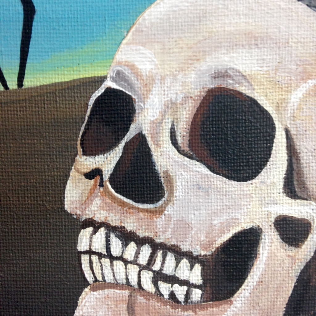 Close-Up 2 The Burning Elephants- Tribute to Salvador Dali Linda Cleary 2014 Acrylic on Canvas