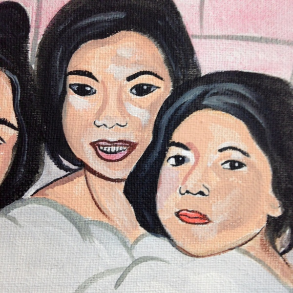 Close-Up 2 Bath Time!- Tribute to Alice Neel Linda Cleary 2014 Acrylic & Watercolor on Canvas