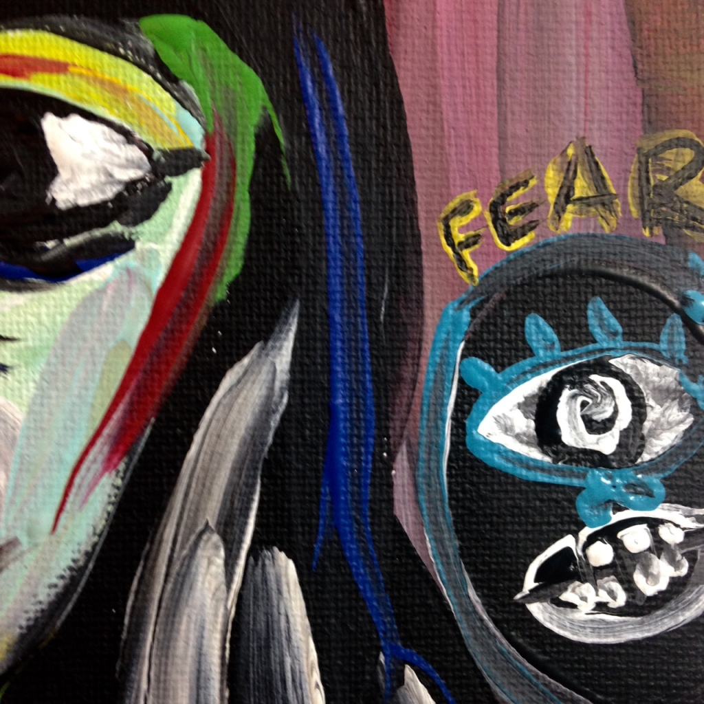 Close-Up 3 Always Lurking...-Tribute to Len Jessome Linda Cleary 2014 Acrylic on Canvas