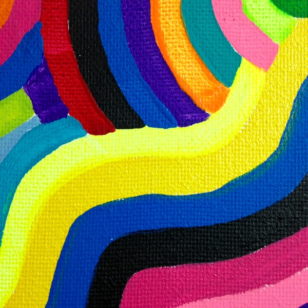 Close-Up 1 Laberinto del Arco Iris- Tribute to Marta Minujin Linda Cleary 2014 Acrylic on Canvas