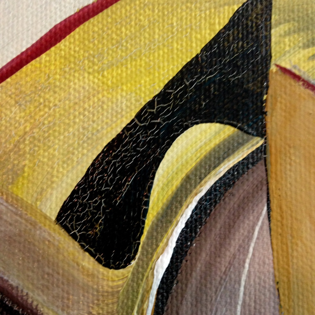 Close-Up 1 Strategy- Tribute to Marcel Duchamp Linda Cleary 2014 Acrylic & Crackle paint on Canvas