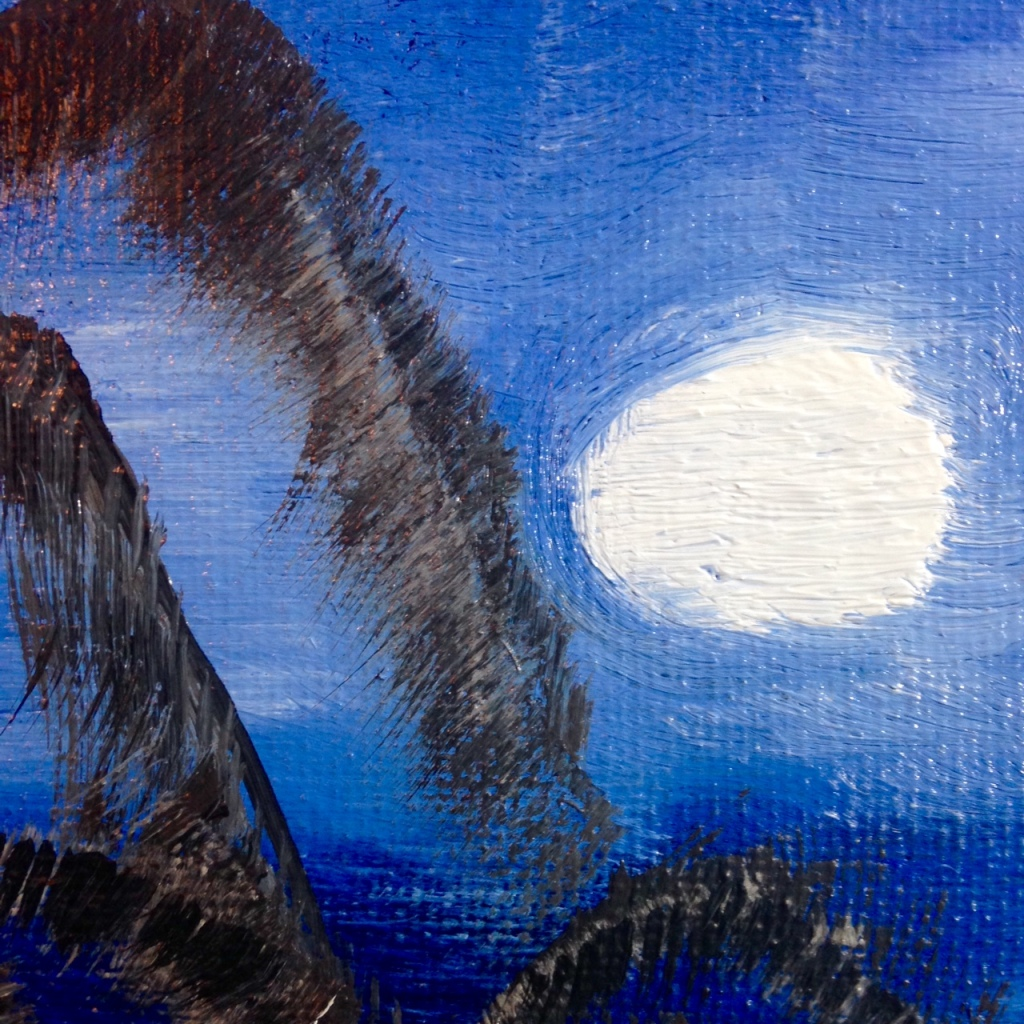 Close-Up 1 Wish I Was There- Tribute to Bob Ross Linda Cleary 2014 Oil, Acrylic on Canvas