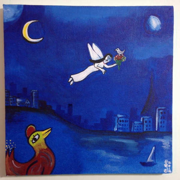 Blue Night Flight- Tribute to Marc Chagall Linda Cleary 2014 Acrylic on Canvas