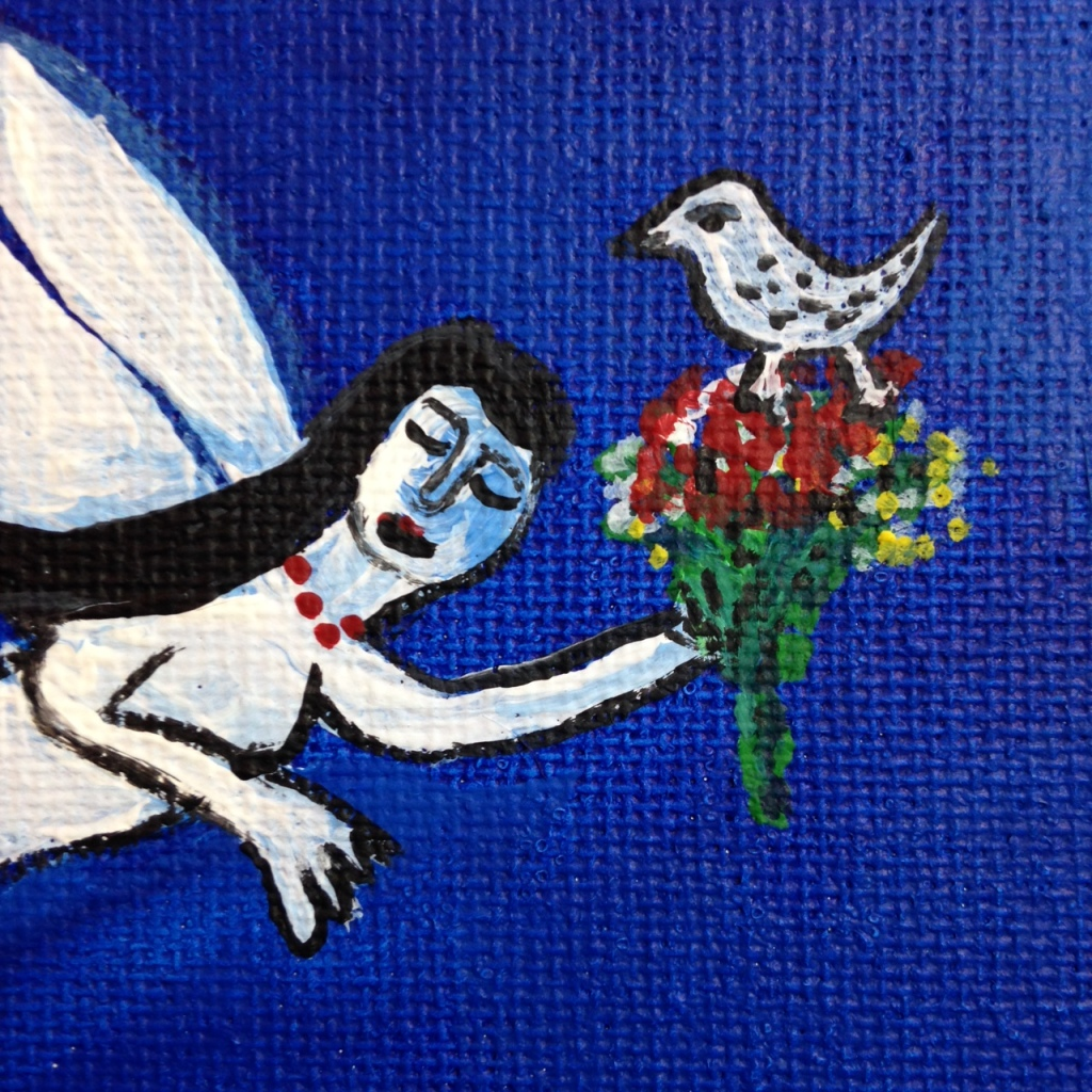 Close-Up 2 Blue Night Flight- Tribute to Marc Chagall Linda Cleary 2014 Acrylic on Canvas