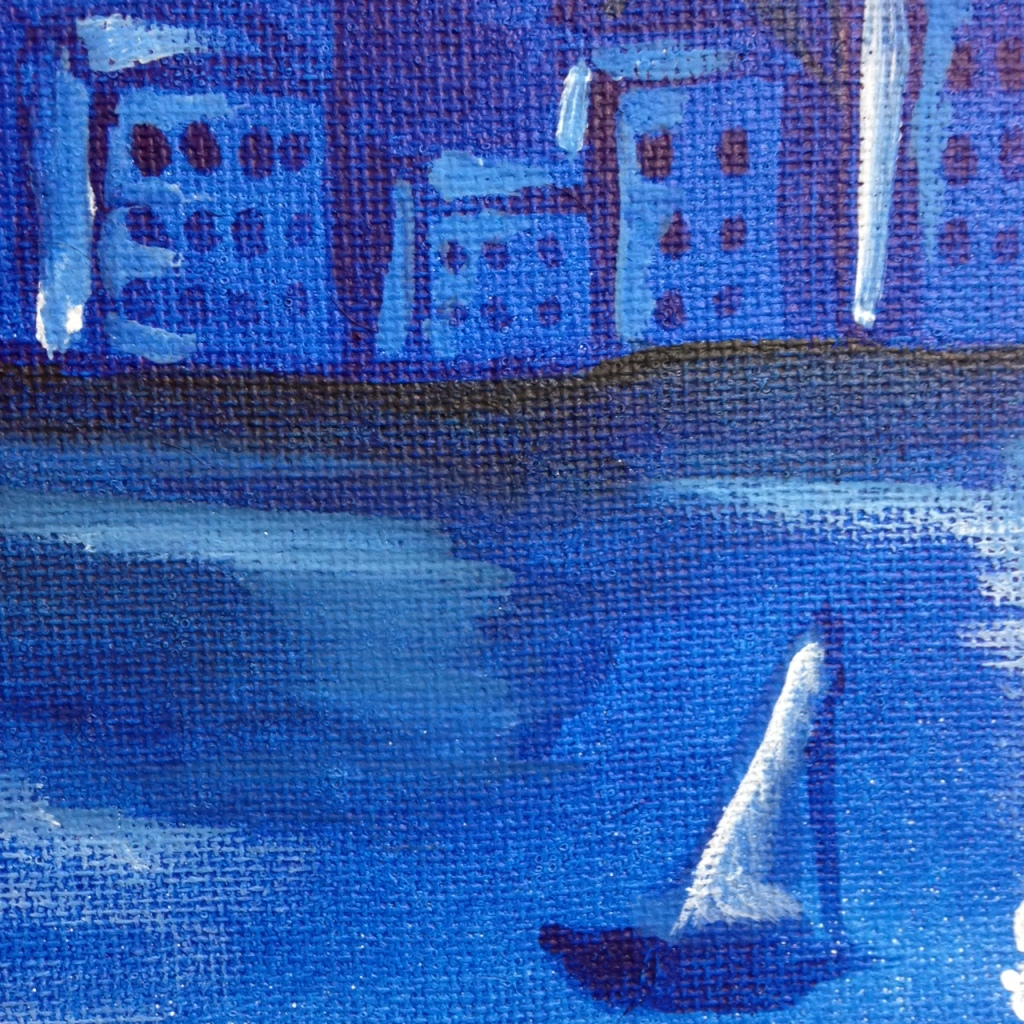 Close-Up 1 Blue Night Flight- Tribute to Marc Chagall Linda Cleary 2014 Acrylic on Canvas