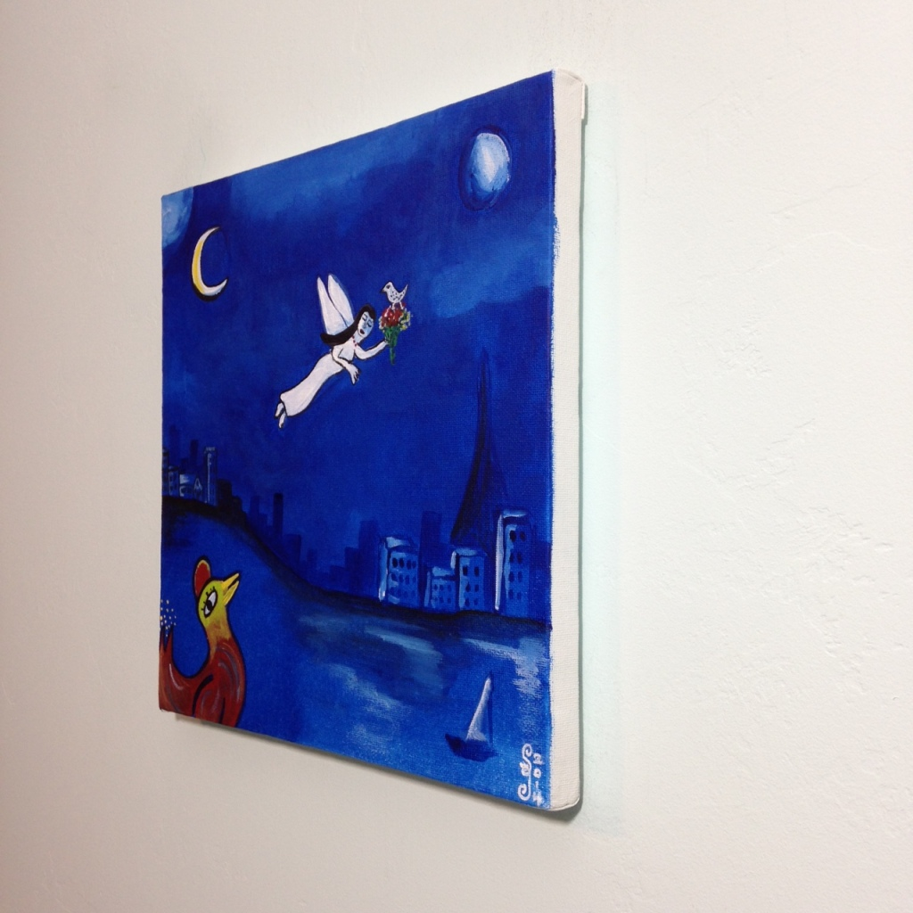 Side-View Blue Night Flight- Tribute to Marc Chagall Linda Cleary 2014 Acrylic on Canvas