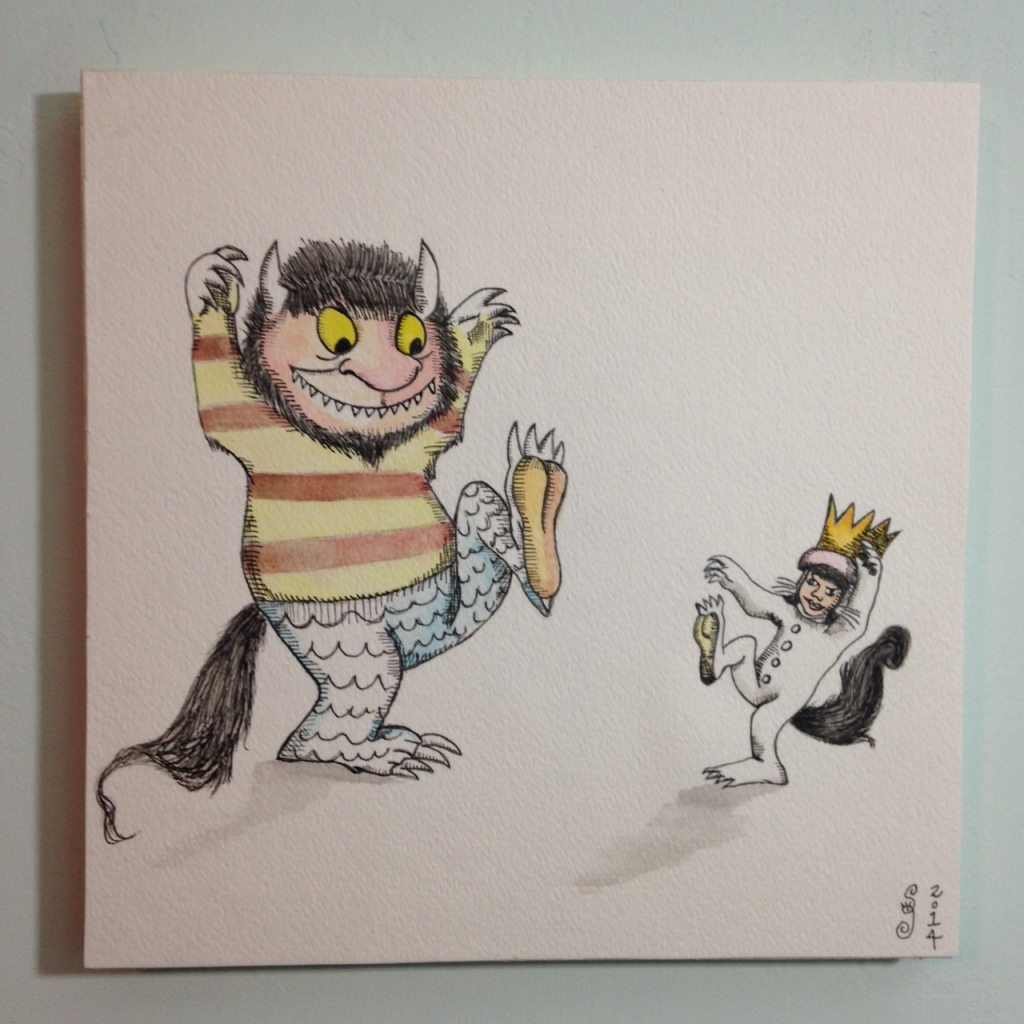Me and my Monster- Tribute to Maurice Sendak Linda Cleary 2014 Watercolor, Pencil & Ink on Paper mounted onto wood panel