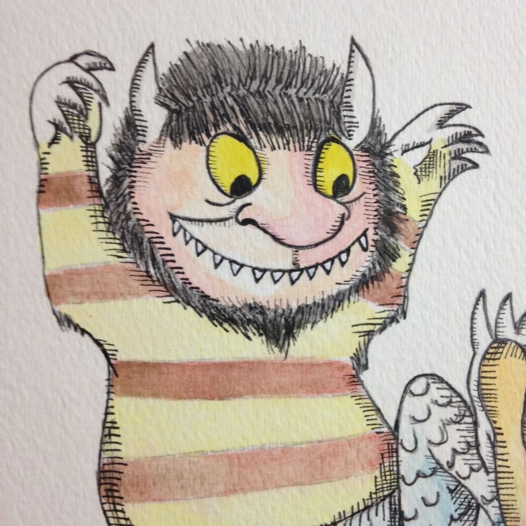 Close-Up 2 Me and my Monster- Tribute to Maurice Sendak Linda Cleary 2014 Watercolor, Pencil & Ink on Paper mounted onto wood panel