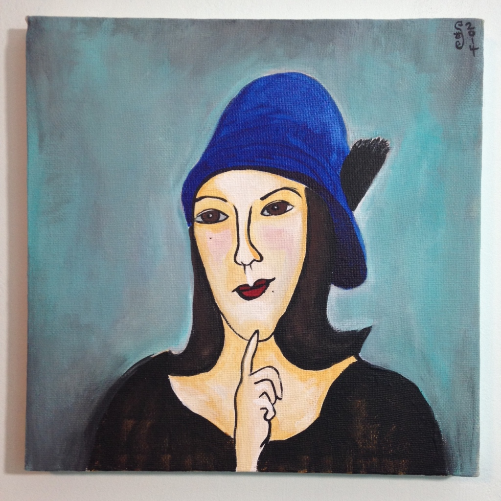 Self Portrait in a Blue Hat- Tribute to Amedeo Modigliani  Linda Cleary 2014 Acrylic on Canvas