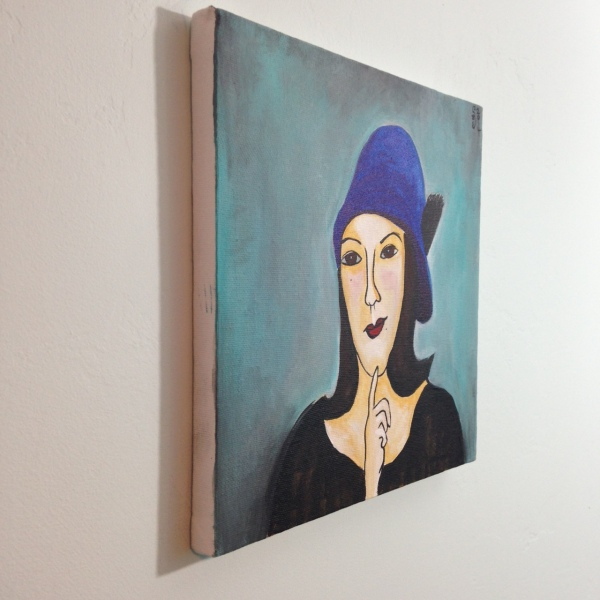 Side-View Self Portrait in a Blue Hat- Tribute to Amedeo Modigliani  Linda Cleary 2014 Acrylic on Canvas