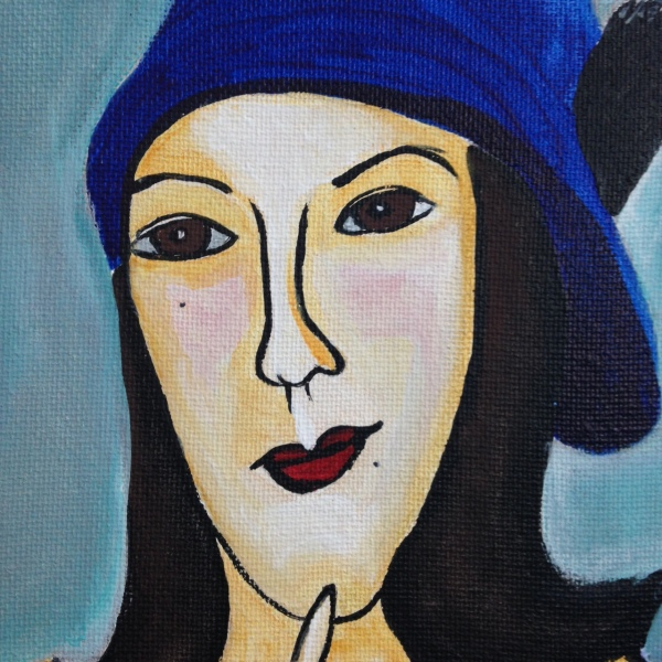 Close-Up 1 Self Portrait in a Blue Hat- Tribute to Amedeo Modigliani  Linda Cleary 2014 Acrylic on Canvas