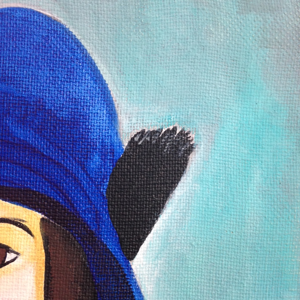 Close-Up 2 Self Portrait in a Blue Hat- Tribute to Amedeo Modigliani  Linda Cleary 2014 Acrylic on Canvas