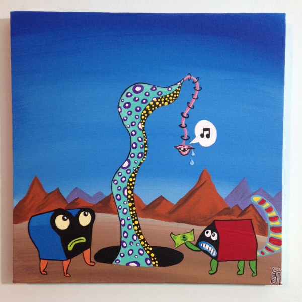 The Unexpected- Tribute to Jim Woodring Linda Cleary 2014 Acrylic on Canvas
