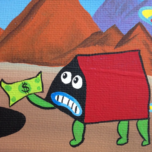 Close-Up 2 The Unexpected- Tribute to Jim Woodring Linda Cleary 2014 Acrylic on Canvas