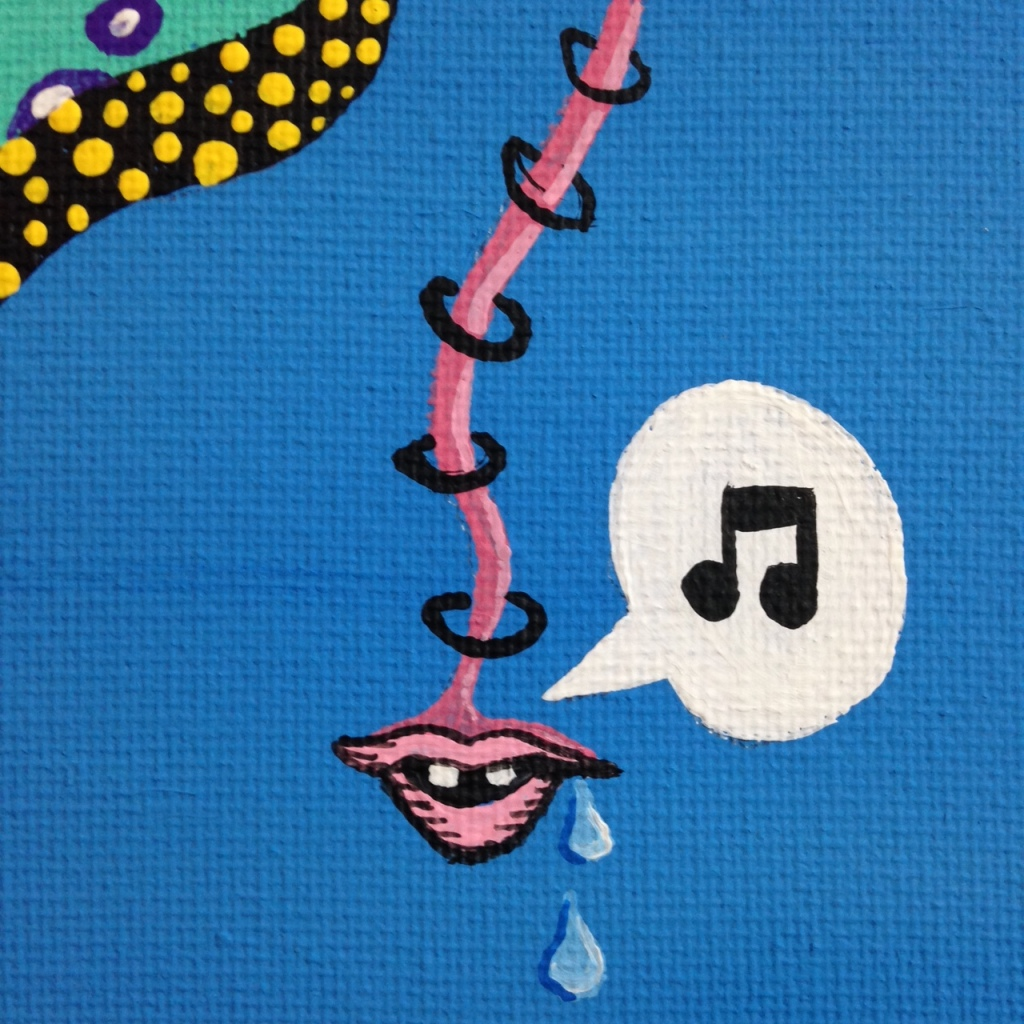 Close-Up 1 The Unexpected- Tribute to Jim Woodring Linda Cleary 2014 Acrylic on Canvas