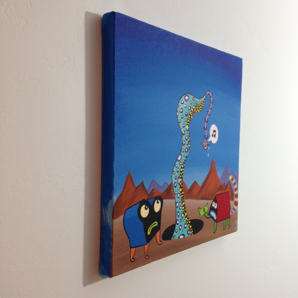 Side-VIew The Unexpected- Tribute to Jim Woodring Linda Cleary 2014 Acrylic on Canvas