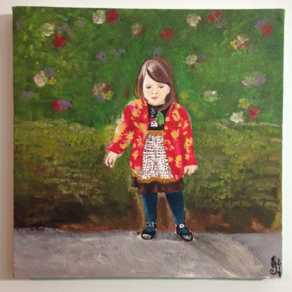 Petite Fille dans le Manteau Rouge Chinois- Tribute to Pierre-Auguste Renoir Linda Cleary 2014 Acrylic on Canvas