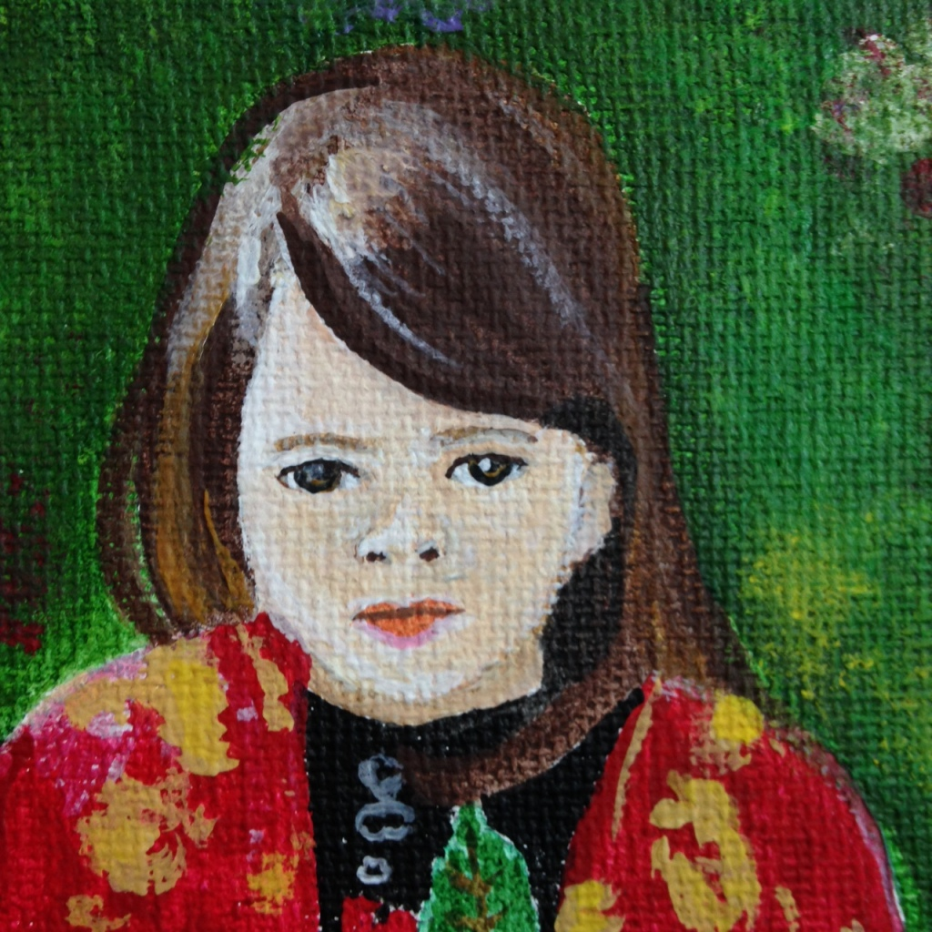 Close-Up 1 Petite Fille dans le Manteau Rouge Chinois- Tribute to Pierre-Auguste Renoir Linda Cleary 2014 Acrylic on Canvas