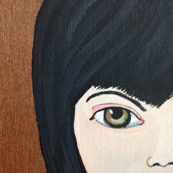 Close-Up 1 Self-Portrait- Tribute to Mark Ryden Linda Cleary 2014 Acrylic on Wood Panel