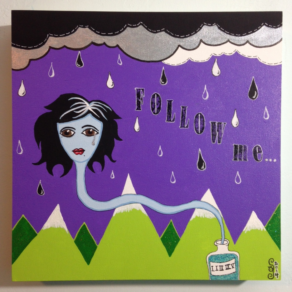 Follow Me...- Tribute to Karli Donna Young Linda Cleary 2014 Acrylic, Ink, Glitter on Canvas