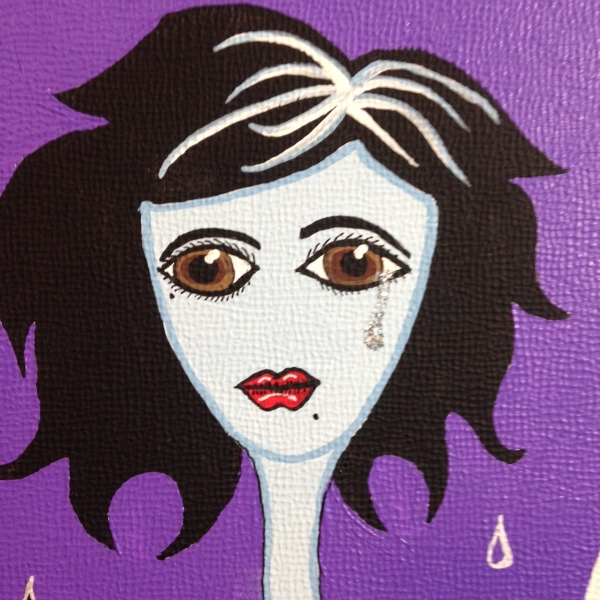 Close-Up 1 Follow Me...- Tribute to Karli Donna Young Linda Cleary 2014 Acrylic, Ink, Glitter on Canvas