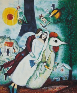 The Bridal Pair with The Eiffel Tower by Marc Chagall